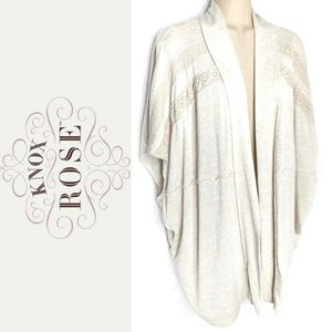 Knox Rose Open Lace Trim Kimono Cardigan Sz S